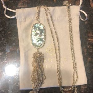 Gold long pendant Necklace in Abalone Shell